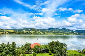 Beatiful landscape from backyard on Danube river