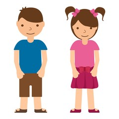 Cute children on white background. Boys and girl in flat style. Teenager vector illustration