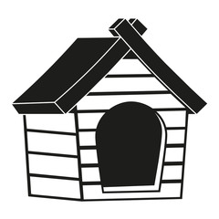 Black and white pet house icon silhouette