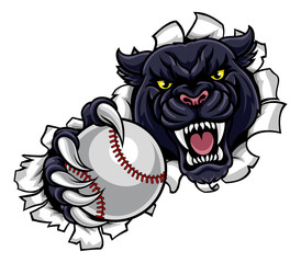 Black Panther Baseball Mascot Breaking Background