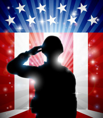 Aluminium Prints Superheroes Soldier Saluting American Flag Background