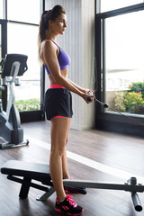 Woman during biceps workout in the gym