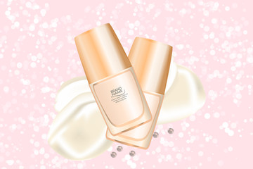 Luxury cosmetic cream jar on bokeh background with creamy swirling. Cosmetics package mockup design.