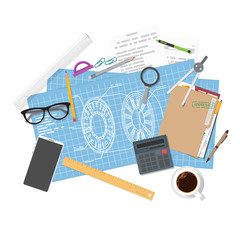 Architect planning or blueprints of mechanical unit. Top view with items and tools. Flat style vector. Engineer project. Plan on paper to build. Web banner for construction or new project and draft.