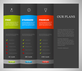 Website product pricing comparison table template with 3 options.