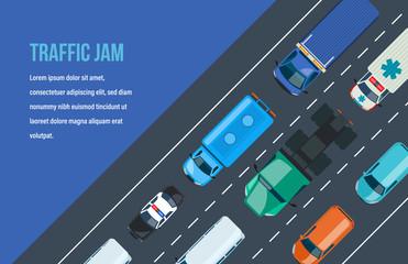 Traffic jam. Automobile traffic around the city and highway, motorway.