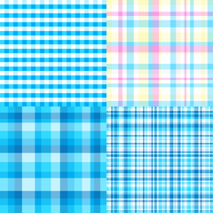 Set of seamless multicolored patterns. Checkered background. Abstract geometric textures. Collection for design