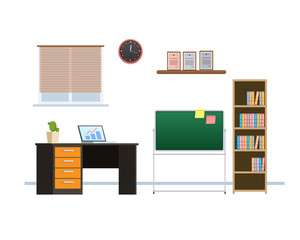 Interior of office working room with furniture, interactive whiteboard, chandelier.