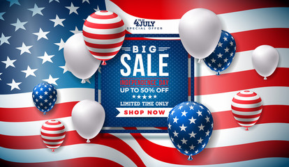 Fourth of July. Independence Day Sale Banner Design with Balloon on Flag Background. USA National Holiday Vector Illustration with Special Offer Typography Elements for Coupon, Voucher, Banner, Flyer