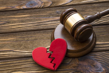 broken heart and hammer of the judge. Concept court, divorce, division of property, marriage contract