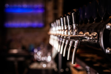 Beer tap array in the bar