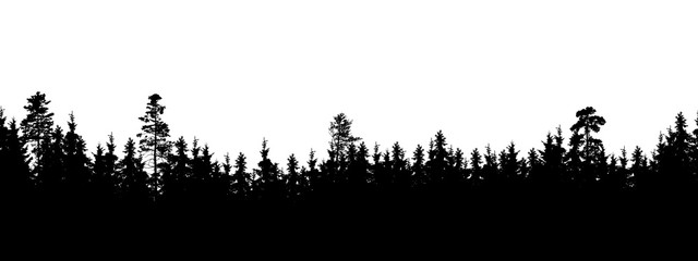 Seamless, wide silhouette of tree and forest peaks - isolated on white background
