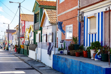 Colorful striped house facades in Portugal