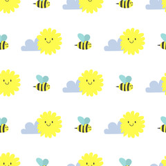 Clouds sun weather bee vector cloudy summer blue sky season design seamless pattern background illustration.