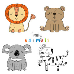 Cute hand drawn vector sketch of a cute Animals. Vector Illustration