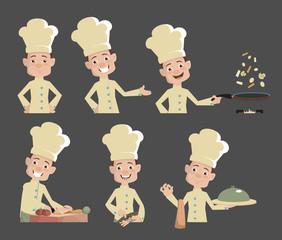 Cartoon Chef series actions Flat Vector Illustration Design