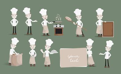 Cartoon Chef various actions Flat Vector Illustration Design