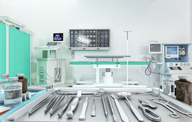 Medical equipment, diagnostics devices, surgery tools in modern operating room - scalpel, scissors, forceps, lancet, chisel, knife. Medicine and healthcare concept. 3D illustration