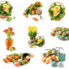 Set of Easter compositions from flowers and Spring decorations isolated on white
