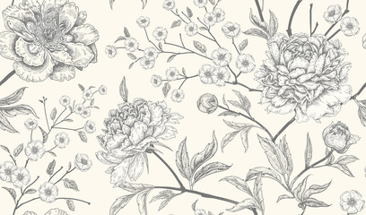Door stickers Vintage Flowers Luxury seamless background with peony flowers.