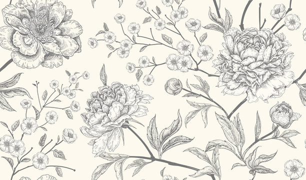 Luxury seamless background with peony flowers.