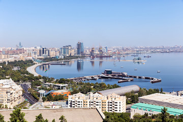 Panoramic view of Baku. Top view of the bay. Republic of Azerbaijan