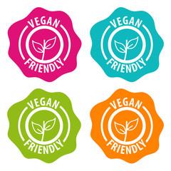 Wall Mural - Vegan friendly Badges. Eps10 Vector.