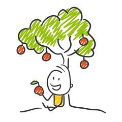 Strichfiguren / Strichmännchen: Apfelbaum. (Nr. 240)