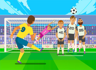 Football player kicking penalty.  illustration of football player kicking penalty to gate of opposite team.