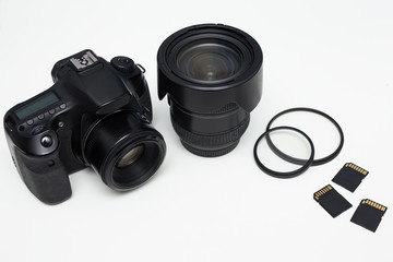 close up of modern photography equipment over white