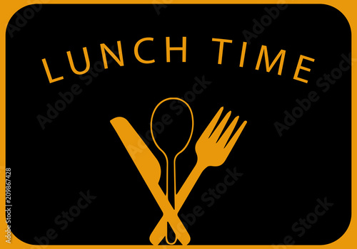 Lunch Time With Cutlery Sign Vector Illustration