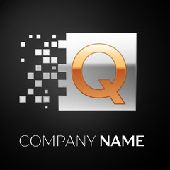 Letter Q logo symbol in the golden-silver colorful square with shattered blocks on black background. Vector template for your design
