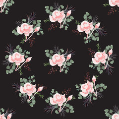 Floral seamless summer pattern, beautiful flower wreath, vector illustration