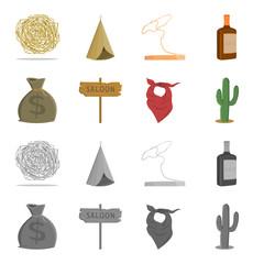Bag of money, saloon, cowboy kerchief, cactus. Wild west set collection icons in cartoon,monochrome style vector symbol stock illustration web.