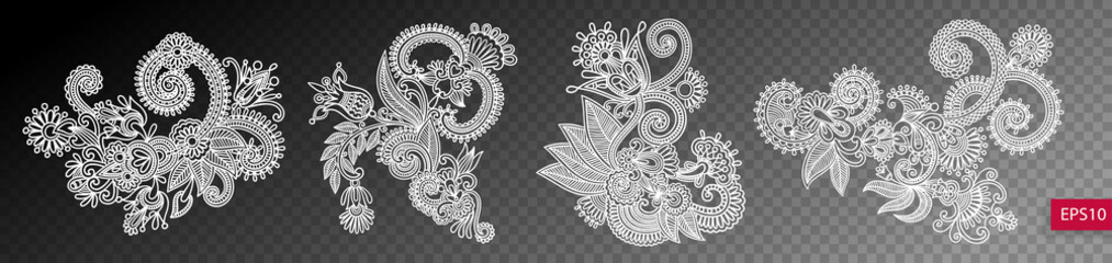 set of four paisley flower design isolated on a transparent back