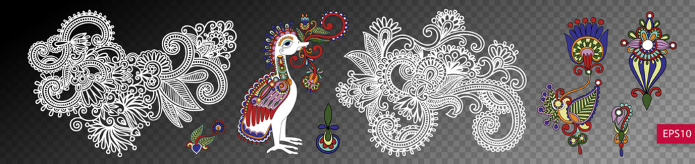 set of paisley flower and bird design isolated