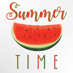Summer concept illustration. Slice of watermelon