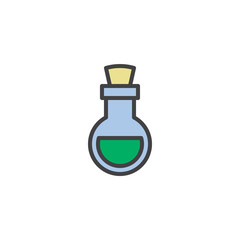 Poison flask filled outline icon, line vector sign, linear colorful pictogram isolated on white. Bottle of poison symbol, logo illustration. Pixel perfect vector graphics
