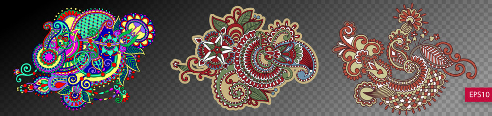 set of three paisley flower design isolated on a transparent bac