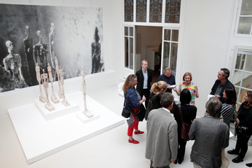 Catherine Grenier, Director of the Giacometti Foundation, talks with journalists during the press preview of the Giacometti Institute in Paris