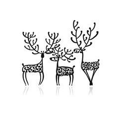 Ornate deers family, sketch for your design