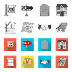 House plan, documents for signing, handshake, terrain plan. Realtor set collection icons in monochrome,flat style vector symbol stock illustration web.