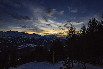 Time Lapse, winter sunset in a valley in the Swiss Alps, the hut Prador