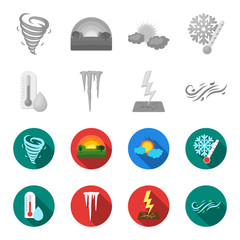 Humidity, icicles, thunderbolt, windy weather. Weather set collection icons in monochrome,flat style vector symbol stock illustration web.