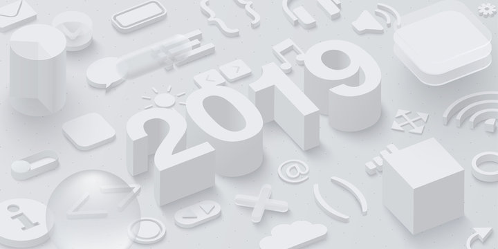 Grey 2019 3d background with web symbols.