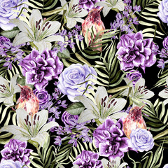 Beautiful watercolor pattern with peony and rose flowers, lily and tropical bird, lilac and leaves.