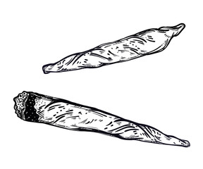 Hand drawn weed joint or spliff and cigarette. Drug consumption, marijuana.