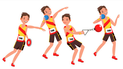 Athletics Young Man Player Vector. Man. Sportsman Win Concept. Various. Race Competition. Hurdle long Jump. Flat Athlete Cartoon Illustration