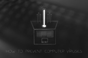 laptop with virus thermometer popping out of the screen