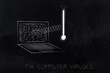 laptop with virus thermometer popping out and messy binary code on the screen
